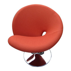 Swirly Swivel Chair in Orange - We love a lot of chairs. But this one . . .  This one instantly puts a retro spin in any room. In comfy orange wool, with a sleek chrome base, it adds just the right pop of color and sass.