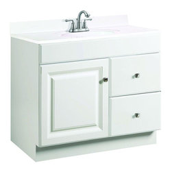 Design House - Design House Cabinets Wyndham 36 in. W x 18 in. D Unassembled Vanity Cabinet - This is the go-to 36 in. vanity for any bathroom that needs a splash of brightness. With a white semi-gloss finish and satin nickel hardware this sleek piece—with a shallow 18 in. depth—will give any powder room a crisp clean appearance. Assembly of the unit is quick and straightforward utilizing a frameless full-overlay blueprint to craft a classic cabinet with two right-side drawers and one reversible door giving way to ample storage space within. The medium-density fiberboard material used for this vanity is pressure-bonded with a Thermo foil coating giving it a uniform finish and water resistance to withstand years of high-humidity environs. Apply a modern contemporary flair to any bathroom with the Design House Wyndham vanity and consider an accompanying wall or medicine cabinet in white from the same collection (sold separately). Color: White Semi-Gloss.