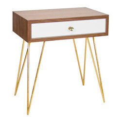 Worlds Away - Worlds Away 1 Drawer Lathan Nighstand - Walnut Veneer Nighstand with White lacquer drawer on glides. Sits on gold leafed hairpin legs.