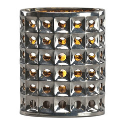 Brasa Fire - Oval Bevel Shadow Lantern Chrome - Brasa Fire's Oval Shadow Lanterns are versatile alcohol-burning smokeless vent free bio ethanol fireplaces made from high temperature ceramic surrounds and stainless steel burner inserts. Chrome color and architectural bevel pattern. Can be used in a range of settings in both indoor and outdoor environments. Unlike a traditional fireplace or stationary fire pit their uncomplicated setup means you can move them at a moment's notice - line them in a row on on the floor to light an aisle or walkway at a wedding or party, set them inside an old fireplace hearth (no flue needed since bio ethanol is clean burning and only emits heat, water vapor and tiny amounts of carbon dioxide into the air), use them as a tabletop centerpiece in your dining room or outside on your patio or terrace, place them poolside for a moonlight swim.