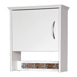 Creative Connectors - 7 in. Wall Cabinet with Garment Hook - White - CARB-Compliant Wood Solid Composite with Melamine Finish. To clean wipe with aclean, damp cloth.. . Finish: White. 7.12 in. L x 17.5 in. D x 19.87 in. H