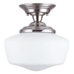 Sea Gull Lighting - Sea Gull Lighting 77436-962 Academy 75W Incand. Traditional Semi Flush Mount Cei - The classic schoolhouse light fixture has been an American icon for almost 90 years. The Academy Collection is today's interpretation of these utilitarian lights which have enjoyed resurgence in popularity given their clean, versatile design. Today, top designers regularly select this ubiquitous look for applications in almost every room of the house.