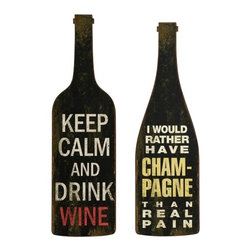 "IMAX - Lasalle Wine And Champagne Wall Decor - Set of 2 - The Lasalle Wine and Champagne Wall Decor expounds on the appeal ofeethis vintage flavored wall art. Expertly crafted, this set of drinking lore will add a charming vibe to your space with a hint of rustic texture. Set of 2. Item Dimensions: (31.5-32.75""h x 9.5""w)"