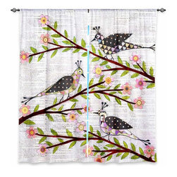 """DiaNoche Designs - Window Curtains Unlined - Sascalia Whimsical Birds - DiaNoche Designs works with artists from around the world to print their stunning works to many unique home decor items.  Purchasing window curtains just got easier and better! Create a designer look to any of your living spaces with our decorative and unique """"Unlined Window Curtains."""" Perfect for the living room, dining room or bedroom, these artistic curtains are an easy and inexpensive way to add color and style when decorating your home.  The art is printed to a polyester fabric that softly filters outside light and creates a privacy barrier.  Watch the art brighten in the sunlight!  Each package includes two easy-to-hang, 3 inch diameter pole-pocket curtain panels.  The width listed is the total measurement of the two panels.  Curtain rod sold separately. Easy care, machine wash cold, tumble dry low, iron low if needed.  Printed in the USA."""