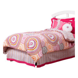 """Sophia Lolita - Full Comforter - Comforter comes in our designer """"Sophia Circles"""" on front and opposite side in """"Lolita Stripe""""  -- both in cotton print fabric.  Flat and fitted sheets come with our poppin pink cotton fabric."""
