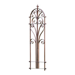 H Potter - Italian Iron Trellis - Add height, visual interest, and old-world elegance to your garden with this curvy trellis. It's made of iron in a rusty brown finish that's powder coated for long-lasting beauty. Support your climbers in style.