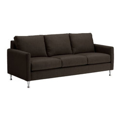 Apt2B - Olympic Sofa - This sofa deserves a gold medal for its clean lines, slick chrome legs and stain-resistant upholstery. It's equal parts retro-cool and contemporary, making it a good fit in any area of your modern-day home, be it den, living room or family room.