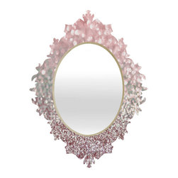 Girly Pink Snowfall Mirror, Large - - Face: High gloss aluminum with UV resistant coating