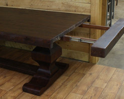 "Reclaimed Dining Room Tables - Ball bearing slides pullout for 15"" table extension"