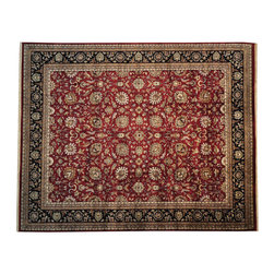 Kashan New Zealand Wool 12x15 Thick and Plush Hand Knotted Oriental Rug SH14386 - Agra & Rajasthan Hand Knotted Rugs have Persian inspired floral motifs.  They are hand knotted from India and usually consists of 100% Wool.  The colors usually consists of Blacks, Deep Reds, Browns, & Greens.