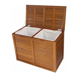 Aqua Teak - Teak Double Section Hamper- Slat Design - Two compartment. Removable lining bag. Use indoor or outdoor. Natural resistance to water, mold and mildew. Versatile. Some assembly required. 34.25 in. L x 18 in. W x 25.25 in. H (46 lbs.)All material is sustainably harvested teak from certified EcoSafe plantations. Teak wood has a life expectancy of 75 years if left untreated due to its natural rubber content that naturally resists moisture. No other wood compares to Teak when it comes to durability, elegance, stability and low maintenance. Provides both functional and aesthetic features to your decor