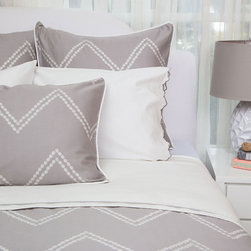 Crane & Canopy - Cora Gray CLASSIC Duvet Cover - King/Cal King - Redecorate with this chevron duvet cover to instantly transform your bedroom. With beautifully illustrated dots lined perfectly to graphically create a large scale zigzag pattern, the Cora Gray Chevron bedding set is our freshest and most sophisticated take on the chevron pattern.
