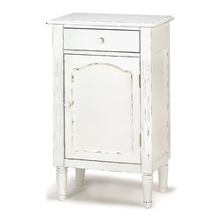KOOLEKOO - Graceful Antiqued Cabinet - Simple lines and a creamy hand-distressed finish give this wonderful wooden cabinet the heirloom look of cherished vintage furnishings! Makes an elegant bedside nightstand, a handsome cabinet for any bath, or use your imagination to add stylish storage most anywhere in your home!