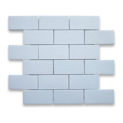 "Stone Center Corp - Thassos White Marble Subway Brick Mosaic Tile 2x4 Polished - Thassos white marble 2"" x 4"" brick pieces mounted on 12"" x 12"" sturdy mesh tile sheet"