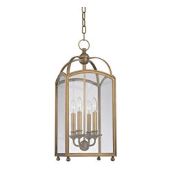 Hudson Valley - 8410-AGB Millbrook Foyer Lantern, Aged Brass, Clear Glass - Traditional Foyer Lantern in Aged Brass with Clear glass from the Millbrook Collection by Hudson Valley.