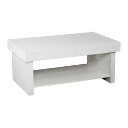 Holly & Martin - Holly & Martin Glidick Slide-Top Cocktail Table - White - Open up a little! Function has fun with this modern, white cocktail table. The Glidick tables make room for the good stuff and tuck away the rest. The slide-top stores magazines, remotes, and small accessories while the wide-open shelf displays it all. Simply close the top of this cocktail table for a clean look you'll love.