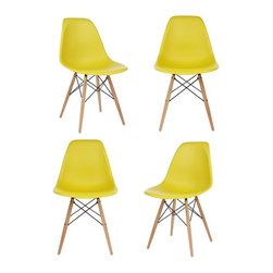 Ariel - S/4 Eames  Molded Dark Yellow Plastic Dining Shell Chair W/ Wood Eiffel Legs - This set of 4 Eames Style DSW Molded Plastic Dining Shell Chair with Wood Eiffel Legs will provide ample indoor seating for family and guests. Sporting a futuristic yet retro look at the same time, this chair set will be a great addition to any kitchen or dining room area. Constructed of heavy duty matte finish seats. Also available in white, black, or light blue.