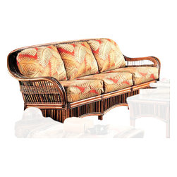 """Spice Island Wicker - 3-Seat Rattan Sofa (Imperial Stripe Jewel - All Weather) - Fabric: Imperial Stripe Jewel (All Weather)Mocha Finish. Includes cushions. 84 in. W x 36 in. D x 36.5 in. H (65 lbs.)This set is our """"primitive"""" group. It uses natural Rattan poles as they come from the jungle. Therefore, there are often blemishes and/or discolorations. This is normal and expected. These distinctive markings give this set character and a totally unique look. The smaller materials are called Croco and are always of varying sizes and colors and was specifically choosen for their """"primitive"""" look."""