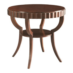 Sherrill Occasional - Sherrill Occasional Round Lamp Table 440-930 - Round lamp table with shaped tapered legs, mid-shelf, and contemporary variation of the classic dentil molded aprons.