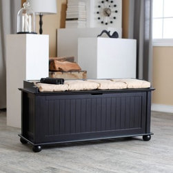 Belham Living Morgan Traditional Flip Top Storage Bench - Black - Classic paneled design and rounded bun feet impart a timeless look to the Morgan Traditional Flip Top Storage Bench - Black. The perfect addition to your hallway, living area, or play room, this flip top bench offers plenty of storage to keep your shoes, magazines, toys, and other knick-knacks organized. Featuring a sturdy poplar wood frame with MDF and birch veneers, it has a beautiful black finish that will add a distinctive look anywhere you place it. If you're looking for a combination of traditional elegance and an uncluttered home, you won't go wrong with this bench!About Belham LivingBelham Living builds catalog-quality furniture in traditional styles at a price that actually makes sense. By listening to our customers and working closely with great manufacturers, we build beautiful pieces worthy of your home. Rich wood finishes, attention to detail, and stylish lines that tie everything together are some of the hallmarks of a Belham Living piece. From the living room or bedroom, through the kitchen, and out onto the deck, there's something from an incredible Belham collection perfect for your style.