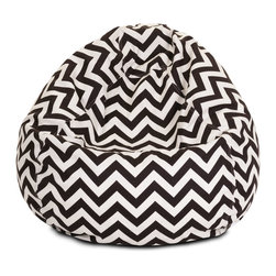 "Majestic Home - Outdoor Chevron Small Bean Bag, Chocolate, 28"" L X 28"" W X 22"" H - Beanbags are the ultimate kid-friendly chairs: You can toss them anywhere, let them get kicked around and squished up, and you don't have to worry if this one gets left outside overnight. This small, snazzy chevron beanbag is just the right size for your kid to plop in front of a movie or out by the pool, and its fun chevron slipcover is safe for outdoors and removable for easy cleaning."