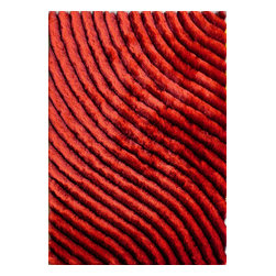 Rug - ~5 ft. x 8 ft. 3-D Shaggy Red Living Room Hand-tufted Area Rug - 3D SHAG COLLECTION