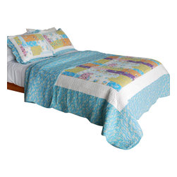 Blancho Bedding - [Azure Sky] Cotton 3PC Vermicelli-Quilted Patchwork Quilt Set (Full/Queen Size) - Set includes a quilt and two quilted shams. Shell and fill are cotton. For convenience, all bedding components are machine washable on cold in the gentle cycle and can be dried on low heat and will last you years. Intricate vermicelli quilting provides a rich surface texture. This vermicelli-quilted quilt set will refresh your bedroom decor instantly, create a cozy and inviting atmosphere and is sure to transform the look of your bedroom or guest room. Dimensions: Full/Queen quilt: 90 inches x 98 inches. Standard sham: 20 inches x 26 inches.