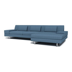 True Modern - Hamlin Sofa with Chaise, Sea Blue - Add this 130-inch minimalist sofa with a built-in chaise to your living room for a chic and comfortable seating option. The extra room gives everyone plenty of space to stretch out and relax. All that's left to do is choose your favorite color.