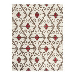 Safavieh - Stefano Hand Tufted Rug, Ivory / Brown 8' X 10' - Construction Method: Hand Tufted. Country of Origin: India. Care Instructions: Vacuum Regularly To Prevent Dust And Crumbs From Settling Into The Roots Of The Fibers. Avoid Direct And Continuous Exposure To Sunlight. Use Rug Protectors Under The Legs Of Heavy Furniture To Avoid Flattening Piles. Do Not Pull Loose Ends; Clip Them With Scissors To Remove. Turn Carpet Occasionally To Equalize Wear. Remove Spills Immediately. Safavieh's artistry is vividly displayed in the Wyndham collection with designs ranging from contemporary florals to traditional global motifs. Each richly-hued rug is hand-tufted by master weavers in India of top quality wool. Several designs recreate the one-of-a-kind look of fashionable over-dyed antique rugs using a special multi-colored yarn that is meticulously colored using ages-old pot dyeing techniques. After the dye is carefully applied to each strand of wool, touches of organic viscose are added for soft silky luster as special highlights accents.