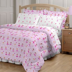 Global Home Living - Ballerina 6-8 Piece Comforter and Sheet Set - Set the stage for your little ballerina to have sweet dreams of pirouettes and plies in her pretty pink bed! Bright and colorful dancers are interspersed with toe shoes and hearts in this charming set.