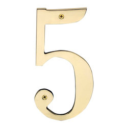 """Renovators Supply - House Numbers Bright Brass House Numbers:#5 8"""" H - House numbers: Crafted of solid brass, these die cast numbers measure 8 in. high. Beautiful polished solid brass will withstand the test of time. Includes 2 screws for mounting and 2 wall anchors."""