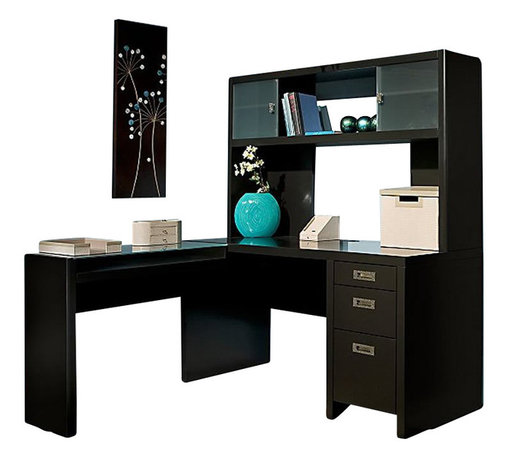 """Kathy Ireland Office by Bush Furniture - Kathy Ireland by Bush New York Skyline L-Shape Desk with Hutch Office Set in Mod - Kathy Ireland Office by Bush Furniture - Home Office Desks - NYS001MM - Bring the sophistication of the Big Apple into your office with the Kathy Ireland Office by Bush Furniture 60"""" L-desk and hutch office suite. Perfect for keeping your busy family organized, the reversible L-desk features a narrow return with open storage for work-in-progress. The desk's large pedestal offers a file drawer, plus two box drawers for office supplies. Advanced wire management features and a built-in 4-port USB hub will keep your working area clean and uncluttered. Extra storage space is a snap with the overhead hutch, which features two frosted glass sliding doors and plenty of room for books, binders and even knick-knacks. All pieces feature rounded edges and soft corners to protect your little ones from bumping injuries, while soft-close hinges help protect against pinching. Choose between Modern Mocha and Plumeria White painted wood finish. Manufactured to the highest standards with Bush's Quick-to-Assemble technology to make assembly time 3 to 5 times faster."""
