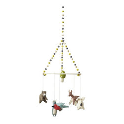 "Pehr - Woodland Creatures Mobile by Pehr - Baby woodland animals dangle from the rim of a pom pom adorned ring with a cute little mushroom above their heads. All animals are felted wool for a sweet earthy feel. This happy little mobile can hang anywhere in a nursery for a soft whimsical touch. (PD) 9"" wide x 28"" high"