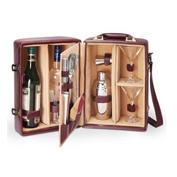 Home Decorators Collection - Manhattan Portable Cocktail Case - Our Manhattan Portable Cocktail Case has everything you need to create a cocktail party on the go. Fully-insulated and made of premium leatherette in rich mahogany, this set has a beautiful tan-colored velveteen interior lining that helps to showcase all its amenities. Includes two hand-blown 7-ounce martini glasses, one 19-ounce stainless steel shaker, one stainless steel double-sided jigger, one stainless steel ice tongs, one stainless steel strainer, two olive picks, one Vermouth mister, one combination fork/spoon stirrer and two 100% cotton napkins. Features a divided, insulated compartment that can hold two bottles. Adjustable leatherette shoulder strap. Suitcase-style handle for easy carrying.