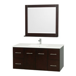 """Wyndham Collection - Wyndham Collection 48"""" Centra Espresso Single Vanity w/ Square Porcelain Sink - Simplicity and elegance combine in the perfect lines of the Centra vanity by the Wyndham Collection. If cutting-edge contemporary design is your style then the Centra vanity is for you - modern, chic and built to last a lifetime. Available with green glass, or pure white man-made stone counters, and featuring soft close door hinges and drawer glides, you'll never hear a noisy door again! The Centra comes with porcelain sinks and matching mirrors. Meticulously finished with brushed chrome hardware, the attention to detail on this beautiful vanity is second to none."""