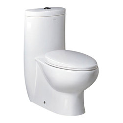 "Fresca - Fresca Delphinus One-Piece Dual Flush Toilet w/ Soft Close Seat - Dimensions:  28.5""L x 15.5""W x 30.25""H. UPC Approved / EPA WaterSense Certified. Dual flush (0.8gpf / 1.6gpf). Toilet Seat Included. Bowl Type:  Elongated. Trap Distance:  12"" (Drain w/ Trap Included). High Quality Stain Resistant Polish w/ Fully Glazed Trapway. . The Delphinus elongated, one-piece toilet features an elegant, sophisticated design, that is both comfortable look at and to sit on. This toilet features a dual flushing system with option of a 0.8gpf or 1.6gpf.  This great feature makes it really easy to conserve water.  It also features a fully glazed inner trapway and comes with a stain resistant polish making it easy to keep clean."