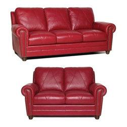 Luke Leather - Weston Italian Leather Living Room Set - LUK-WESTON-ROOM - Set includes Sofa and Loveseat