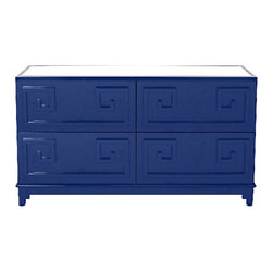 Worlds Away Werstler Navy Greek Key Dresser - Greek Key 4 drawer dresser with inset beveled mirror top