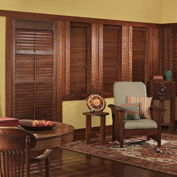 """Graber Traditions 1"""" Wood Blinds - Graber Traditions Collection wood blinds are available in a fresh palette of stains and paints. The rich character of their natural hardwood grain is beautifully enhanced with Graber's PureGrain finish for stained slats. Select stains also match our Traditions shutter style wood blinds, Traditions composite, and Traditions wood shutters. These classic, distinctive wood window treatments provide privacy, light control and insulation while adding warmth and natural beauty to your home decor."""