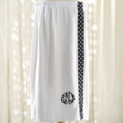 Grandin Road - Monogrammed Terry Bath Wrap - Tailored from soft, ultra-absorbent cotton. Shower wrap is accented with a sporty polka dot stripe. Add a graceful scroll monogram at no extra cost. Easy-fastening Velcro ® closure. Our soft Monogrammed Terry Bath Wrap is an indulgence of the most comfortable-and affordable-variety. Pamper yourself, or wrap someone special in sumptuous cotton terry.. . . Easy-fastening Velcro closure. Made in USA. Please note: personalized items are not returnable.