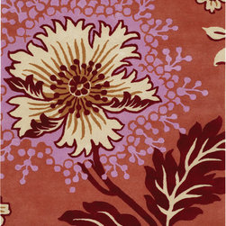 Amy Butler Rugs - Amy Butler Caracas Rug - Amy Butler Rugs - Designed by Amy Butler and made by master craftsmen and craftswomen. These rugs are truly handmade. From the hand-tufting & dying of the 100% New Zealand wool, to the hand-carving of the designs by masters using special scissors. Joyful and passionate flower in deep red, burgundy and magenta. A romantic accent to warm up your room!