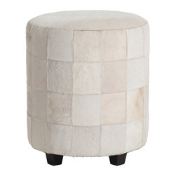 Kathy Kuo Home - Wimberely Patchwork White Leather Round Ottoman Footrest - The all-white leather cowhide finish on this soft, round ottoman gives it an ultra modern look, and contrasts beautifully with its dark wooden legs. Quilt-like construction patches together squares of wonderfully textured leather, adding a level of visual interest to this cleanly designed piece.  Place next to a reclaimed wood coffee table in your industrial loft or contemporary living room.