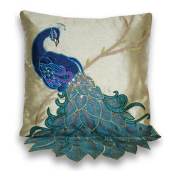 Thro - Fancy Peacock Multicolor 16-inch Faux-silk Accent Throw Pillow - Add a elegant touch to your home decor with this 16-inch beautiful peacock applique pillow on faux silk. This decorative pillow is finished with a hidden zipper closure.