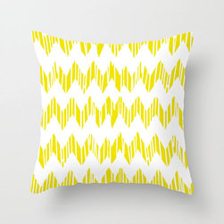 Wet Paint Pillow Cover in Yellow - A trendy zigzag design gets a rustic-inspired update with impressions of dripping paint running through the design. If you love up-to-date seasonal fashion with just a touch of something different���this one's for you!