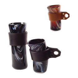 """Esque - Cupeth, Jet Black, Small - """"#1 Dad"""" mugs not your cup of tea? Let your stylish self shine with this unique glass vessel. It features swirled jet black and white glass handblown and shaped to show your off-kilter side. There's even a leather holster so you can get a handle on your cup and your day."""