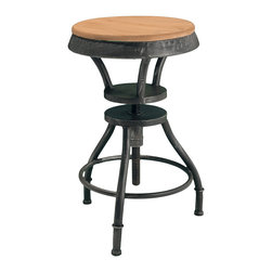 Great Deal Furniture - Houston Industrial Design Adjustable-Height Bar Stool - The height of industrial chic mixes the warmth of wood with the graphic appeal of weathered iron. This bar stool elevates to reach your bar or counter top with ease, and lowers for use at a work or craft table. Whatever your needs, this bar stool will rise to the occasion.