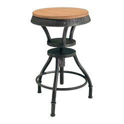 Great Deal Furniture - Houston Industrial Design Adjustable Height Bar Stool - The height of industrial chic mixes the warmth of wood with the graphic appeal of weathered iron. This bar stool elevates to reach your bar or counter top with ease, and lowers for use at a work or craft table. Whatever your needs, this bar stool will rise to the occasion.