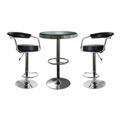 New Buffalo Corp. - Amerihome 3-Piece Soda Fountain Style Bar Set - Black - The Amerihome 3-Piece Adjustable Height Bar Set includes two Adjustable height bar stools and one soda fountain style Adjustable height bar table. The polished chrome base and Black vinyl seats are reminiscent of the days of diners and drive-ins. Add a hint of classic retro design to your kitchen, bar, game room, basement, or shop.