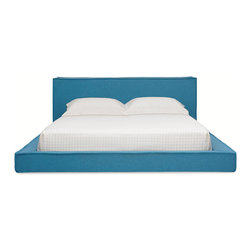 "Blu Dot - ""Blu Dot Dodu Queen Bed, Aqua"" - ""A generously thick headboard of woven felt upholstery and French seams help create a soft, sculptural and low-profile bed. Why French seams? Because the French know something about beds; that's why. Woven felt in aqua, graphite and wheat."""