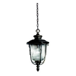 KICHLER - KICHLER 49005RZ Luverne Traditional European Outdoor Hanging Light - The Luverne™ collection features a Rubbed Bronze finish that embellishes the nuanced bead patterns, medallions and scroll work of these attractive outdoor lights.  The tight pattern on the Clear Ribbed glass offers just the right light.For additional chain order KCH-4927-RZ